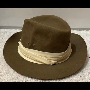 Mens Designer Collection 100% Wool Fedora Hat Sz L